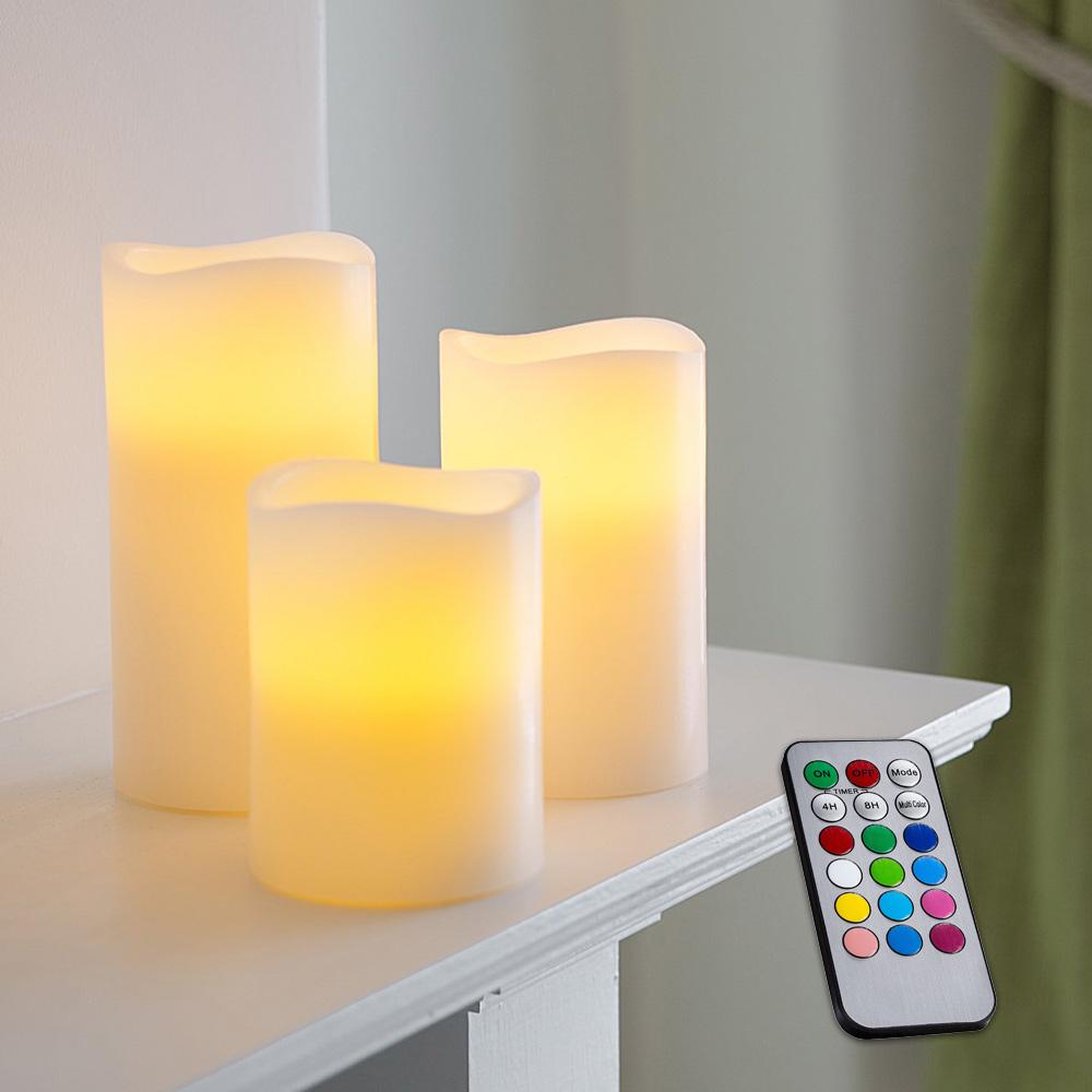 3 db színváltós LED gyertya valódi viaszból, távirányítóval