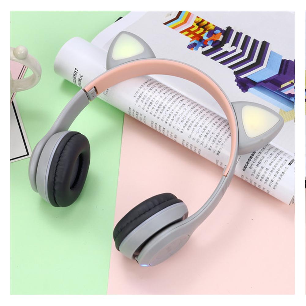 CatEar Bluetooth fülhallgató / mikrofon LED fényekkel / cicafülekkel / Szürke / Y47
