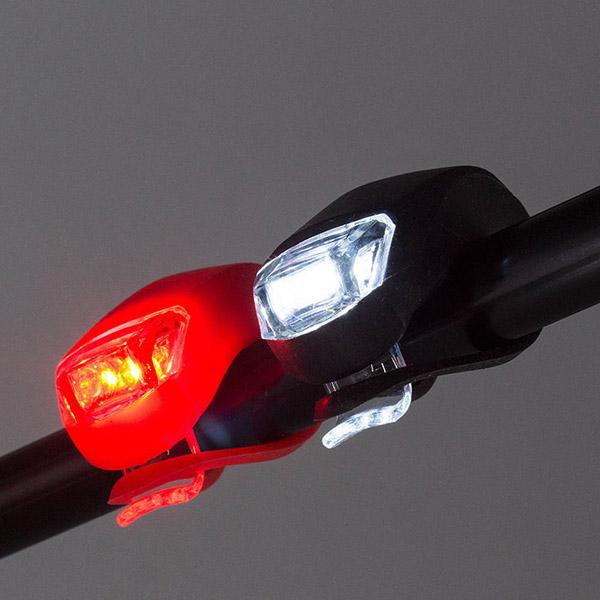 Szilikonházas kerékpáros lámpa szett - első és hátsó világítás