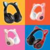 Kép 2/3 - CatEar Bluetooth fülhallgató/mikrofon LED fényekkel / cicafülekkel / fekete