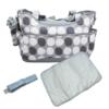 Kép 1/4 - Yodo pelenkázó táska szett – kistáskával / szürke pöttyös