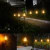 Kép 6/6 - Napelemes LED fáklya pislákoló fénnyel - leszúrható, falra vagy járdára rögzíthető (XF-6005)