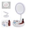 Kép 2/5 - Kétoldalas LED sminkelő tükör – 1x-es és 10x-es nagytás / Sminktartóval (JG-988)