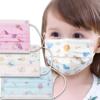 Kép 1/4 - Háromrétegű gyermekszájmaszk csomag vidám mintákkal - 10 darabos, kék