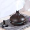 Kép 1/4 - Fahatású aromaterápiás párologtató távirányítóval / ultrahangos párásító, sötét, 400 ml
