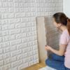 Kép 3/5 - Fehér, 3D-s öntapadós dekor tapéta tégla mintával / falmatrica – 70x77 cm