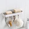 Kép 3/5 - Multifunkciós szappantartó akasztókkal / öntapadós polc fürdőszobába és konyhába, 28 cm (185006)