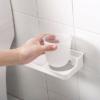 Kép 2/4 - Öntapadós WC-kefe garnitúra fali tartóval és mini polccal (185017)