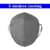 Kép 1/4 - Szürke KN95 légzésvédő arcmaszk / szájmaszk (FFP2) - 5 darabos csomag