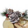 Kép 3/4 - Karácsonyi fa vonat / asztaldísz mécsestartóval, két kocsival