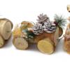 Kép 4/4 - Karácsonyi fa vonat / asztaldísz mécsestartóval, két kocsival