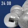 Kép 3/3 - Karácsonyfa gömb készlet, 24 darabos, ezüst