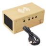 Kép 4/4 - Fahatású Bluetooth kihangosító / vezeték nélküli töltő, óra-, dátum- és hőmérséklet kijelzéssel...