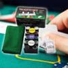 Kép 1/4 - Komplett póker készlet / filc játékfelület, 200 db zseton, 2 pakli kártya