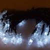 Kép 2/5 - Hideg fehér, napelemes karácsonyi fényfüzér fenyőfa alakú LED izzókkal / fényérzékelővel, kültérre, 6 méter