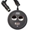 Kép 2/3 - 120W szivargyújtó elosztó / 2 db szivargyújtó + 1 db USB kimenet - kerek forma