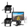 """Kép 1/5 - Vezeték nélküli tolatókamera szett 7""""-os TFT LCD monitorral, 2 db éjjellátó kamerával – teherautókhoz, munkagépekhez"""