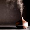 Kép 4/4 - Fahatású aromaterápiás párologtató távirányítóval / ultrahangos párásító, 400 ml - világosbarna