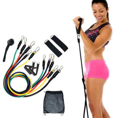 Fitnesz gumikötél szett testedzéshez – kötéltréner fogantyúval, 5 féle erősséggel