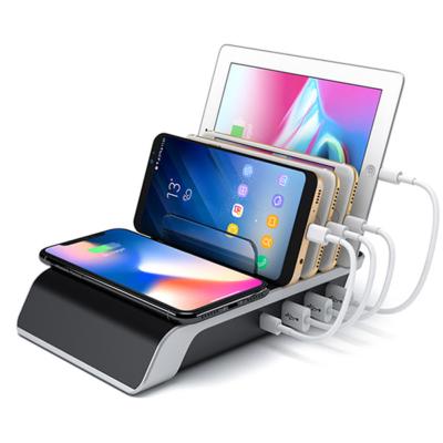 Vezeték nélküli töltőállomás / 4 USB port + wireless töltő
