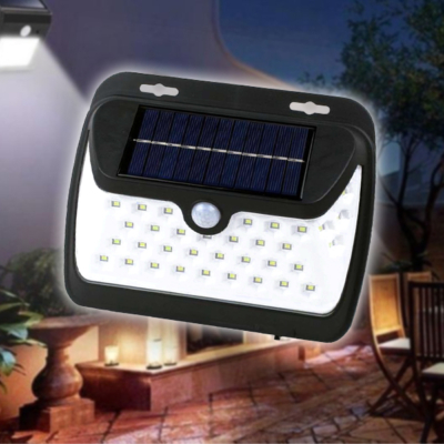 38 ledes napelemes fali lámpa mozgás- és fényérzékelővel / PIR+CDS szenzor - LF-1573A