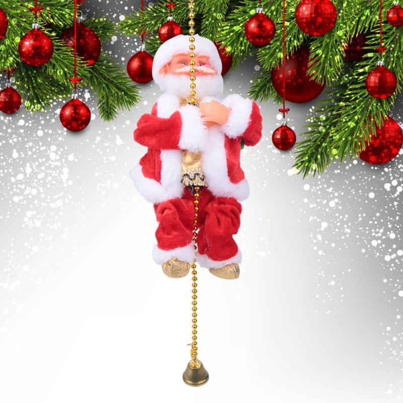 Láncon mászó zenélő mikulás / karácsonyfadísz