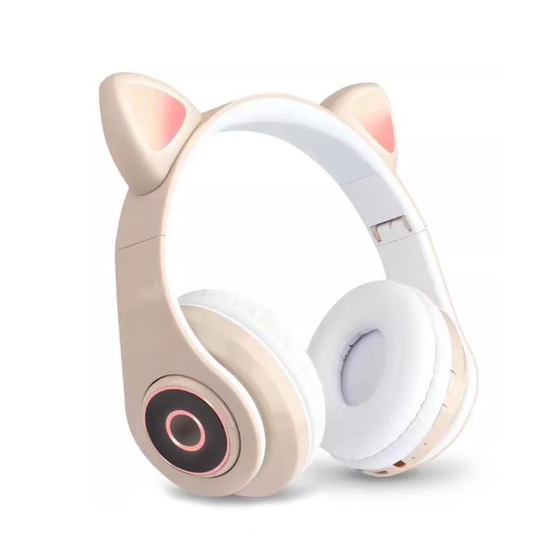CatEar Bluetooth fülhallgató/mikrofon LED fényekkel / cicafülekkel / bézs