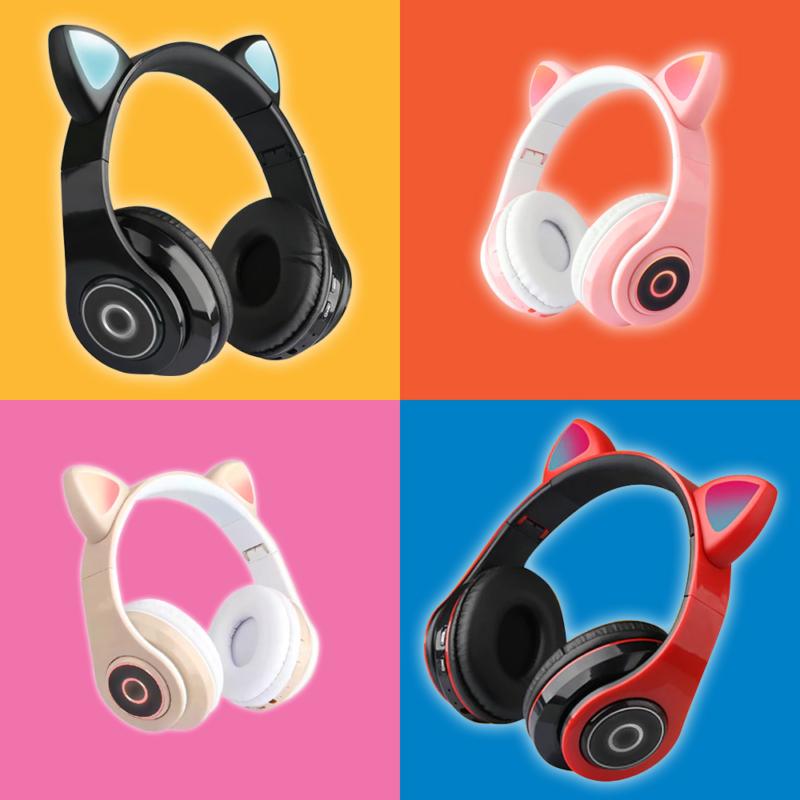 CatEar Bluetooth fülhallgató/mikrofon LED fényekkel / cicafülekkel / fekete