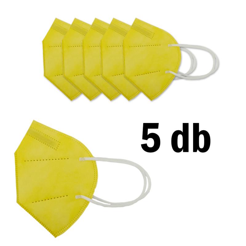 FFP2 légzésvédő egészségügyi arcmaszk (KN95) / sárga / 5 db