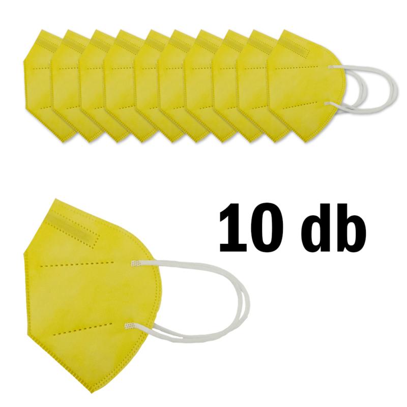 FFP2 légzésvédő egészségügyi arcmaszk (KN95) / sárga / 10 db