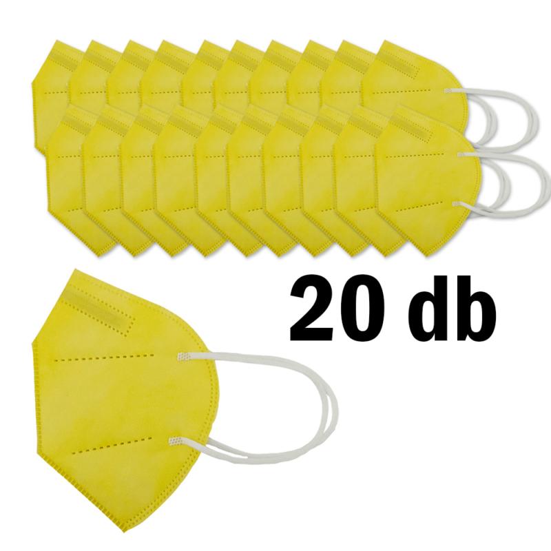FFP2 légzésvédő egészségügyi arcmaszk (KN95) / sárga / 20 db