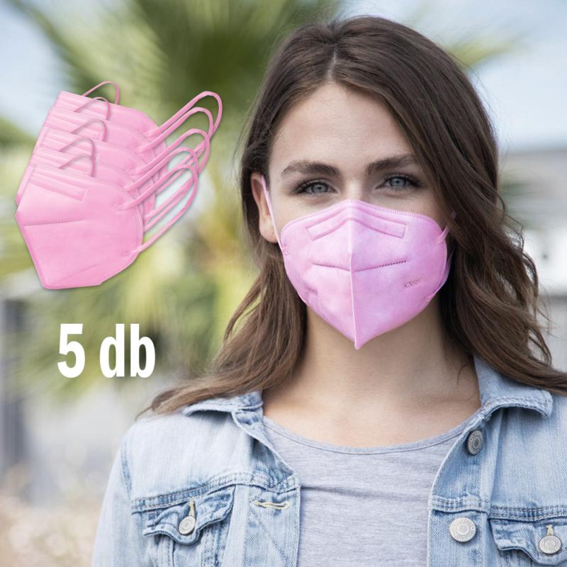 FFP2 légzésvédő egészségügyi arcmaszk (KN95) / rózsaszín / 5 db
