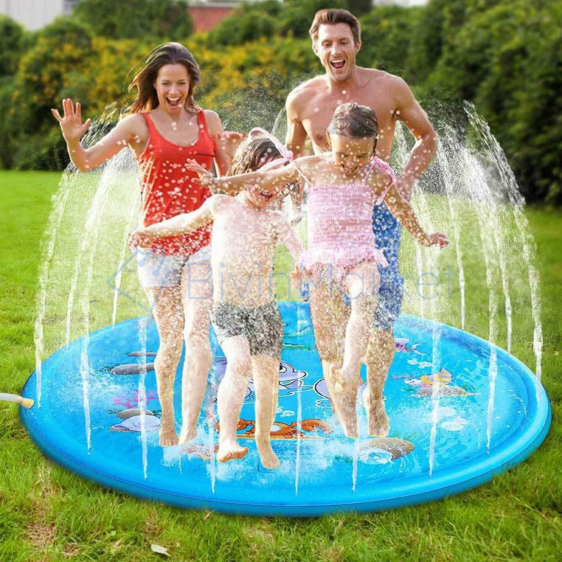 100 cm-es, mintás szökőkút szőnyeg gyerekeknek / locsolószőnyeg - kék, vízi állatok
