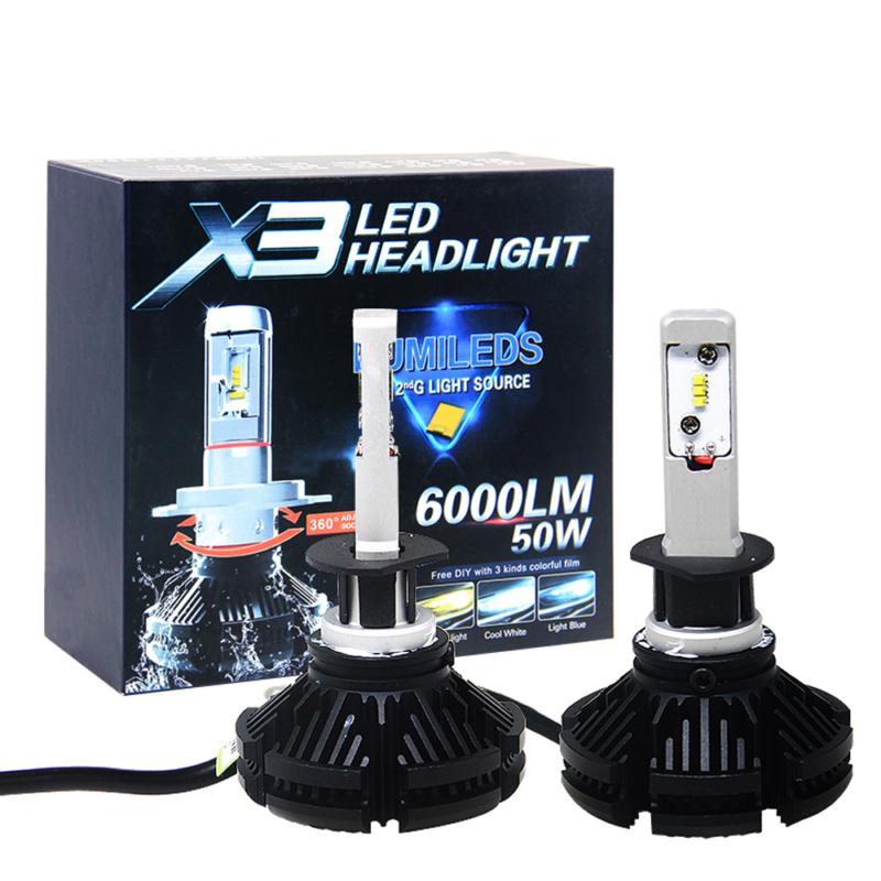 H1 X3 LED fényszóró szett / 1 pár, 25W, 6000 LM