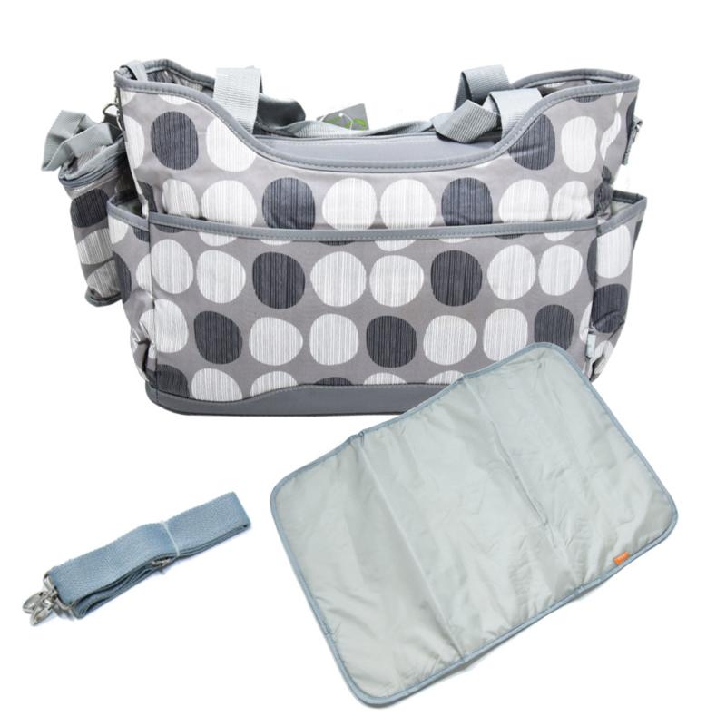 Yodo pelenkázó táska szett – kistáskával / szürke pöttyös