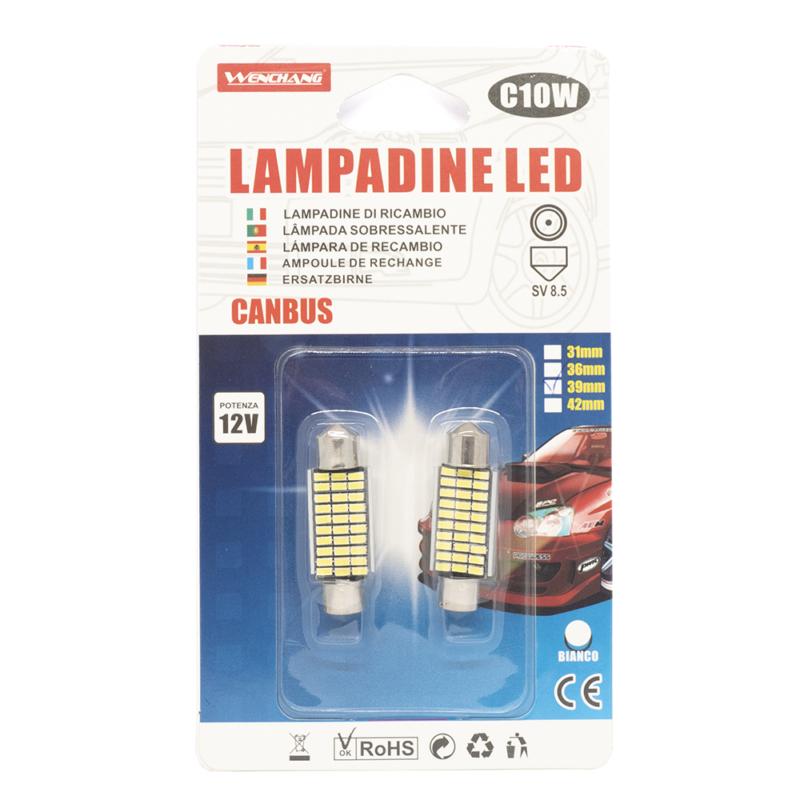 C10W Autós LED beltéri izzó 12V - 39mm / 2 db, SV 8.5, 30 LED (13624)