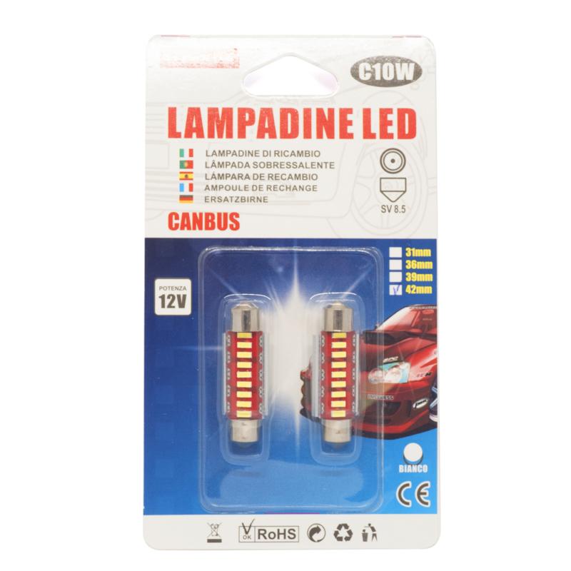 C10W Autós LED beltéri izzó 12V - 42mm / 2 db, SV 8.5, 9 LED (15940)