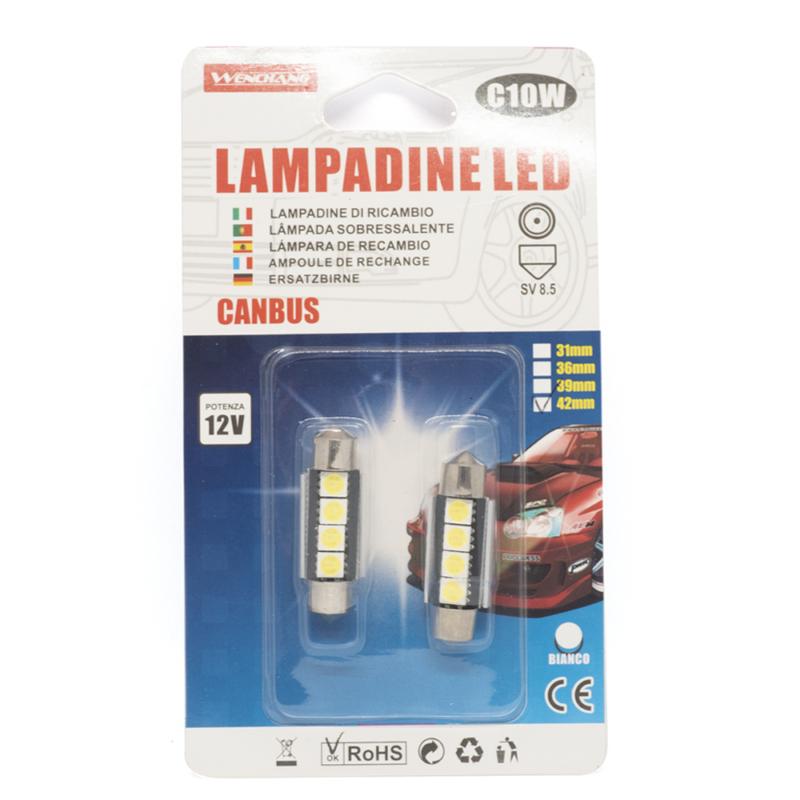 C10W Autós LED izzó 12V - 42 mm, SV 8.5 / 2 db, 4 LED (10994)