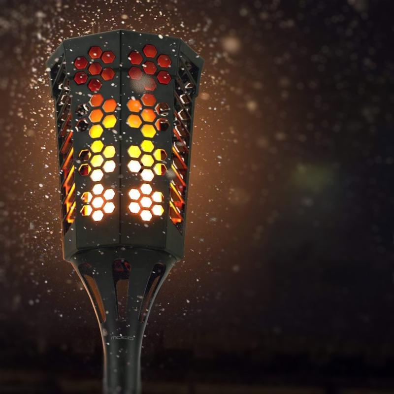 Napelemes LED fáklya pislákoló fénnyel - leszúrható, falra vagy járdára rögzíthető (XF-6005)