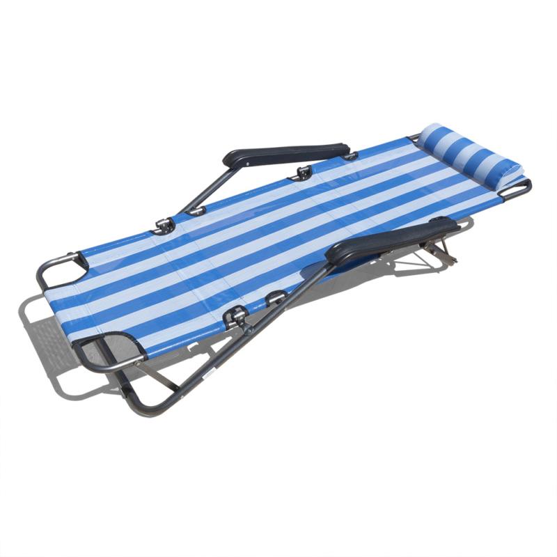 Csíkos napozóágy, állítható– 150x47 cm / kék
