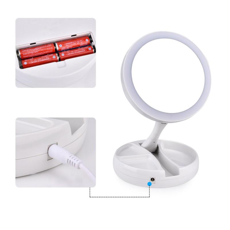 Kétoldalas LED sminkelő tükör – 1x-es és 10x-es nagytás / Sminktartóval (JG-988)