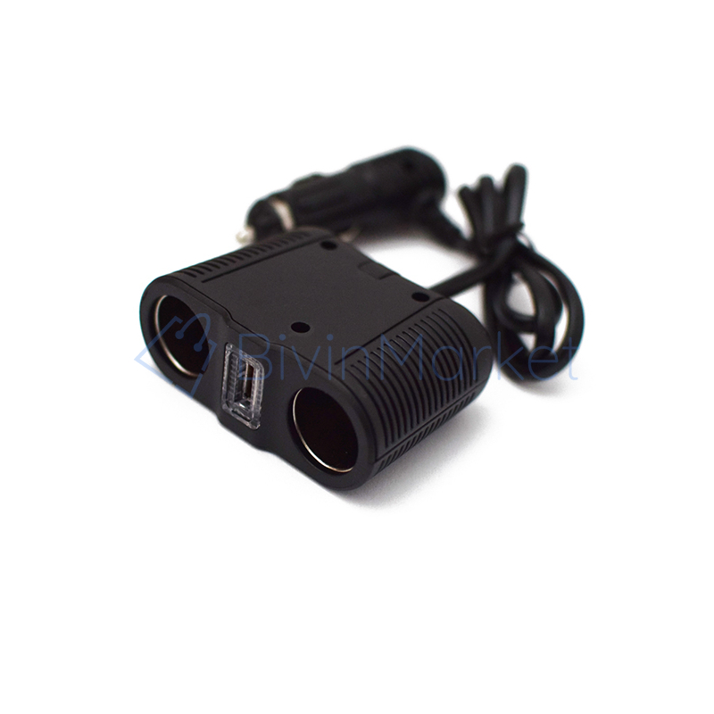 100W lapos szivargyújtó elosztó / 2 db szivargyújtó + 1 db USB kimenet