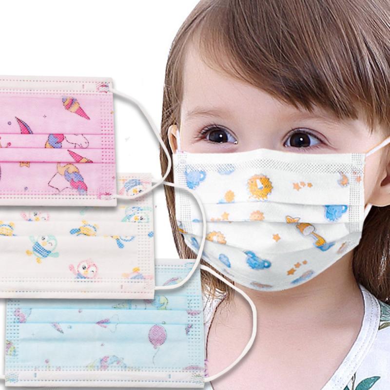 Háromrétegű gyermekszájmaszk csomag vidám mintákkal - 10 darabos, kék