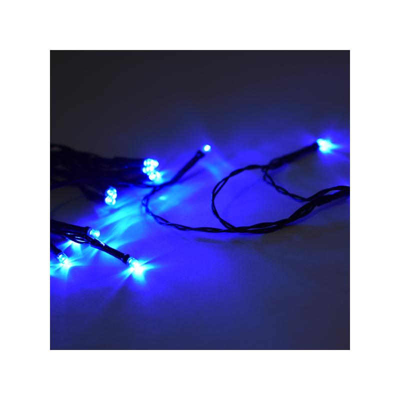 20 ledes elemes fényfüzér / 2 méteres izzósor színes fénnyel, zöld vezetékkel