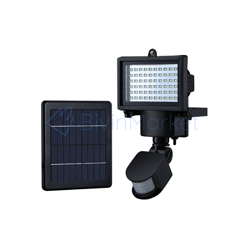 60 LED-es napelemes reflektor mozgásérzékelővel / 15W
