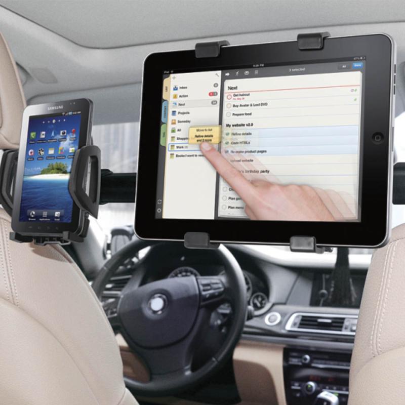 Autós fejtámlára erősíthető univerzális dual telefon- és tablet tartó