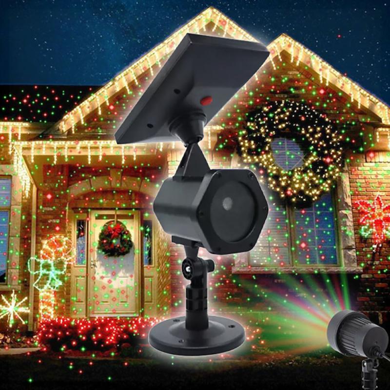 Karácsonyi solar lézerfény / kültéri dekorvilágítás fényérzékelővel - piros-zöld lézershow...
