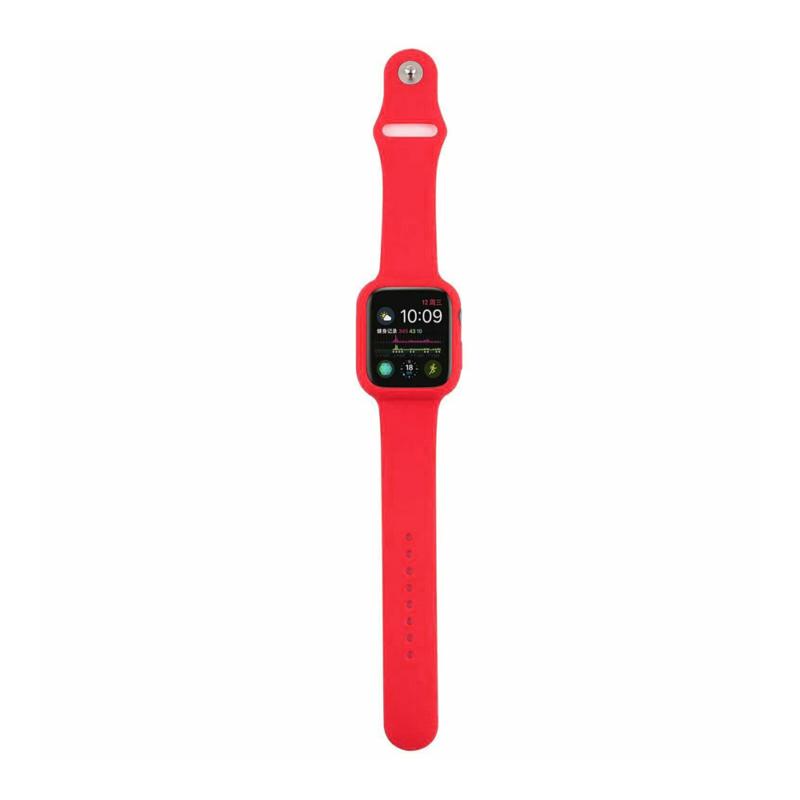 Szilikon szíj és védőtok Apple Watch órához, 42 mm (több színben) - piros
