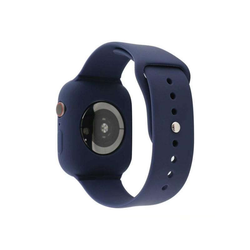 Szilikon szíj és védőtok Apple Watch órához, 40 mm (több színben) - sötétkék