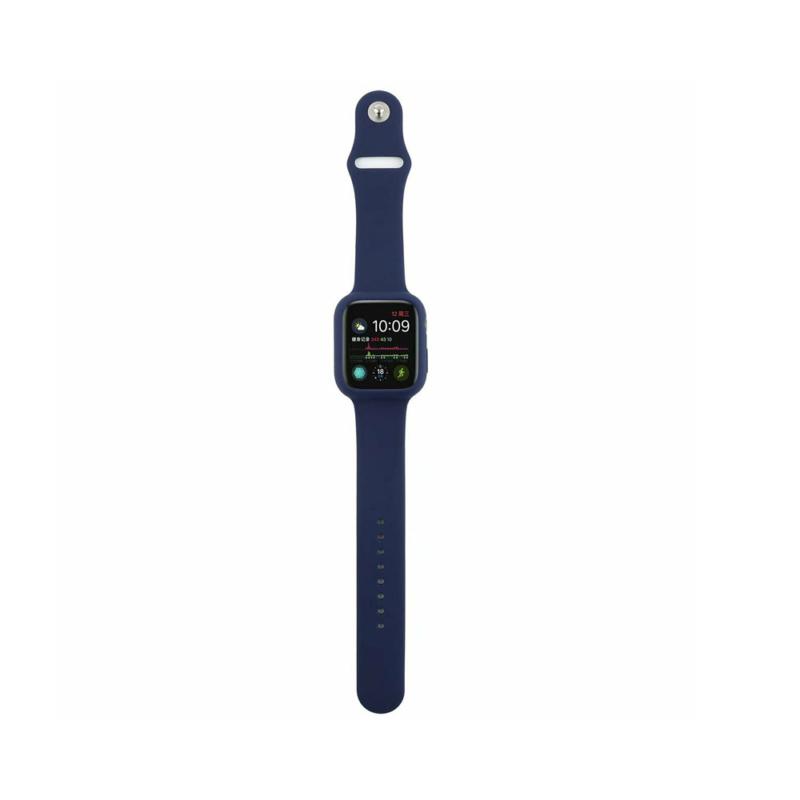 Szilikon szíj és védőtok Apple Watch órához, 44 mm (több színben) - sötétkék